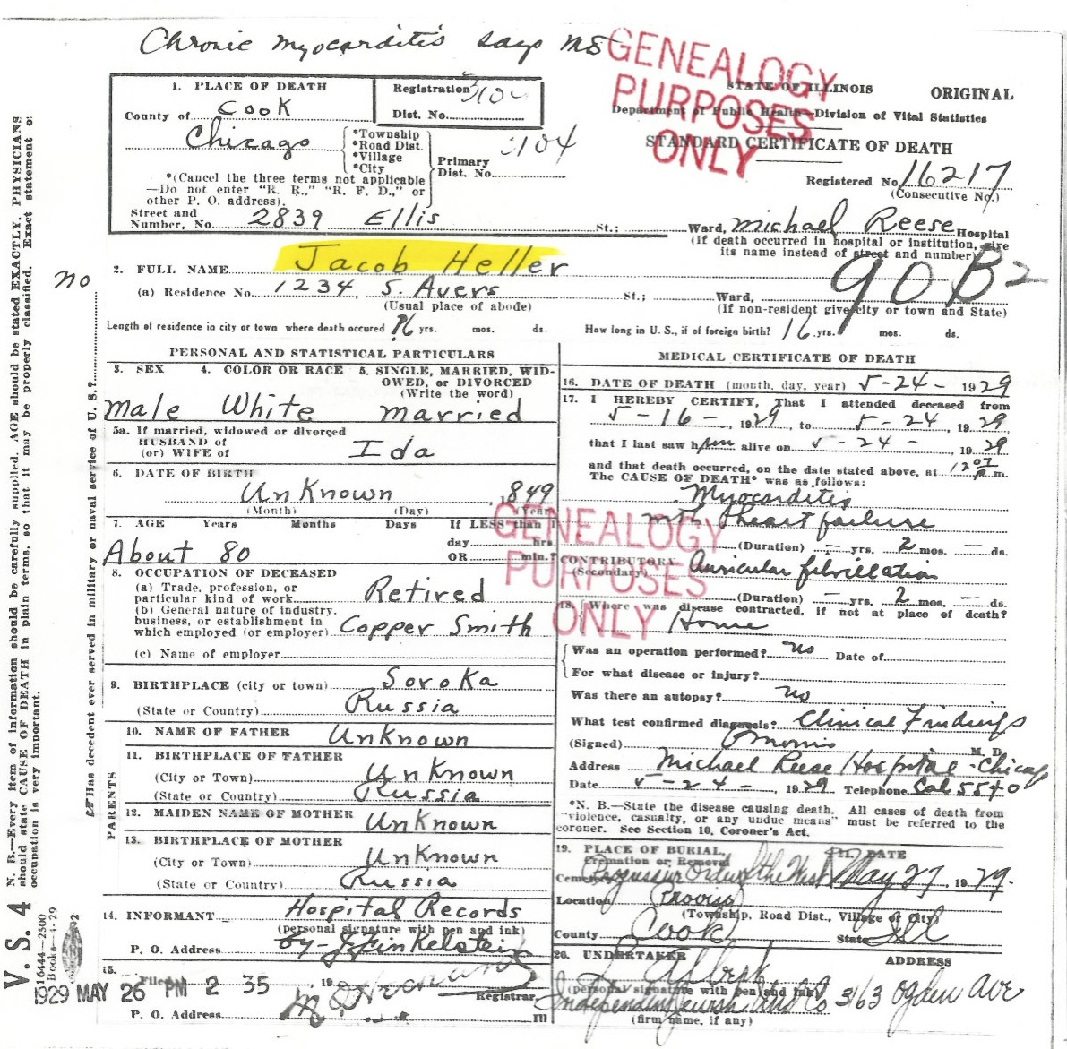 Sources certificate of death for jacob heller 5271929 chicago il photo of headstone retired copper smith aiddatafo Image collections